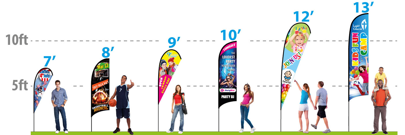 Feather Banners & Feather Flags - size chart